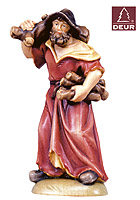 Farm Nativity Shepherd carrying Wood 3.54inch color