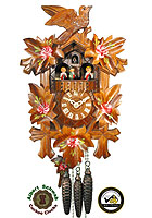 1-Day Music Dancer Carving Cuckoo Clock, Painted Roses, 14.6 inch