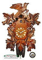 8-Day Carving Cuckoo Clock 3 Birds 7 Leaves 18.9 inch