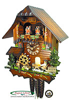 1-Day Music Dancer Cuckoo Clock Beerdrinker, 12.2in
