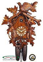 8-Day Carving Clock Cuckoo & 9-Leaves, 13.4inch