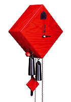 1-Day Cuckoo Clock Design Collection Rhombus RED, 9.5inch